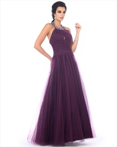 Grape Jeweled Halter Top Keyhole Pleated Tulle Prom Dress With Open Back