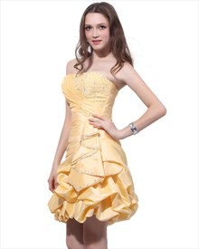Yellow Beaded Bodice Strapless Taffeta Bubble Ruched Dress With Pickups