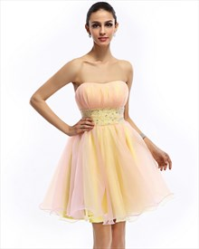 Yellow Short Strapless Layered Organza Prom Dress With Beaded Waist