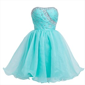 Turquoise Short Strapless Organza Homecoming Dress With Rhinestone Trim