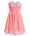 Coral Chiffon Empire Short Strapless Cocktail Dress With Keyhole Cut Out