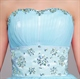 Sky Blue Short Embellished Strapless Homecoming Dress With Beaded Waist
