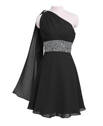 Little Black Short One Shoulder Chiffon Cocktail Dress With Beaded Waist