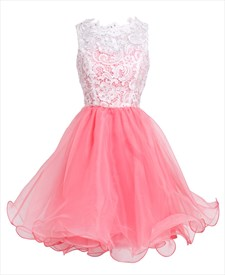 Watermelon Short Sleeveless Illusion Neckline Dress With Lace Bodice