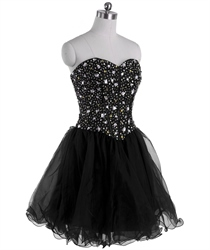 Black Strapless Sweetheart Short Prom Dress With Corset Jeweled Bodice