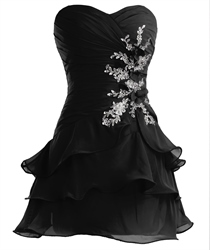 Black Strapless Layered Chiffon Homecoming Dress With Applique Detail