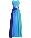Blue Strapless Sweetheart Ombre Prom Dress With Ruched Bust And Beading