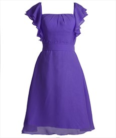 Purple Chiffon A-Line Knee Length Bridesmaid Dress With Flutter Sleeves