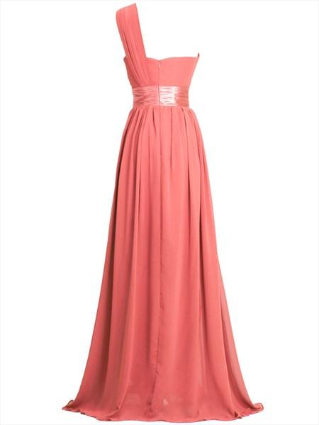 Coral Chiffon Long One Shoulder Sweetheart Bridesmaid Dresses With Sash