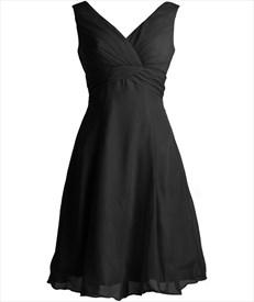 Black A-Line V-Neck Knee-Length Chiffon Bridesmaid/ Wedding Party Dress