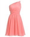 Coral One Shoulder Knee-Length Chiffon Bridesmaid Dress With Ruching