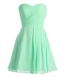 Mint Green Sweetheart Chiffon Short Bridesmaid Dress With Pleated Bodice