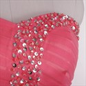 Watermelon A Line Strapless Tulle Prom Dress With Beaded Embellishment