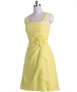 Yellow Short Crinkle Chiffon Pleated Bridesmaid Dress With Front Cascade
