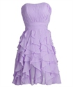 Lilac Pleated Strapless Chiffon Short Bridesmaid Dress With Ruffle Skirt