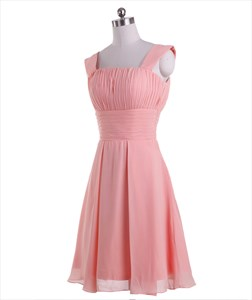 Coral A-Line Chiffon Ruched Knee Length Bridesmaid Dresses With Straps
