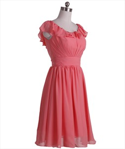 Coral Ruched Short Crinkle Chiffon Bridesmaid Dress With Ruffle Neckline