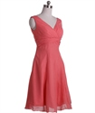 Coral Chiffon Empire Waist A-Line V-Neck Sleeveless Short Cocktail Dress