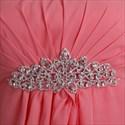 Coral Chiffon Empire Strapless Short Bridesmaid Dresses With Rhinestones