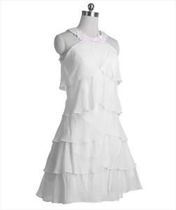 Ivory A-Line Jewel Knee-Length Applique Chiffon Dress With Layered Skirt