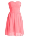 Coral Chiffon Short Strapless Sweetheart Bridesmaid Dresses With Ruching