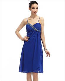 Royal Blue Spaghetti Strap Chiffon Cocktail Dress With Beaded Neckline