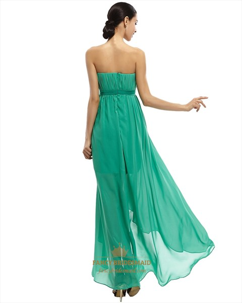 Green Strapless Short Dress Chiffon Prom With Floor Length Sheer Overlay