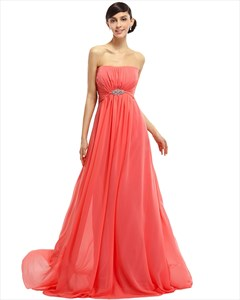 Coral Chiffon Strapless Empire Bridesmaid Dresses With Embellishments