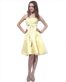 Yellow Strapless Beaded Organza Homecoming Dress With White Sash