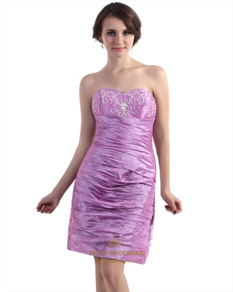 Lilac Short Strapless Taffeta Sheath Cocktail Dress With Beading