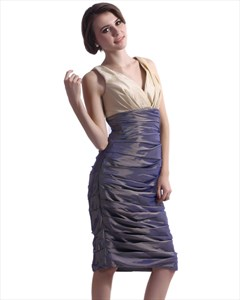 Sheath V-Neck Sleeveless Knee-Length Taffeta Mother Of The Bride Dress