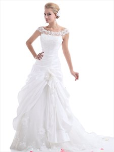 White A-Line Illusion Neck Side-Draped Wedding Dress Lace Embellishments