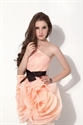 Peach Short One Shoulder Organza Bridesmaid Dress With Black Belt