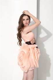 82876c6ea0d Cute Light Pink Short Strapless Sweetheart Organza Bridesmaid Dress ...