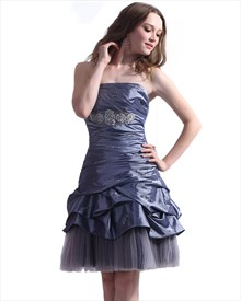 Purple Strapless Ruched Short Taffeta Gown With Beaded Embellishment