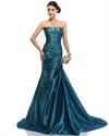 Teal Mermaid Strapless Sweetheart Court Train Taffeta Prom Dress