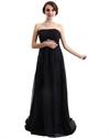 Black Strapless Chiffon Empire Bridesmaid Dress Long With Embellishments