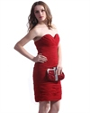 Red Sweetheart Neckline Strapless Chiffon Sheath Ruched Cocktail Dress