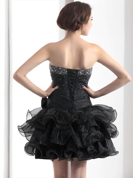 Black Short Beaded Strapless Homecoming Dress With Organza Ruffle Skirt