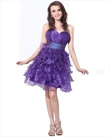 Purple Organza Homecoming Dress With Ruffled Skirt And Sash At Waist