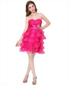 Hot Pink Layered Skirt Short Strapless Dress With Beaded Waist Detail