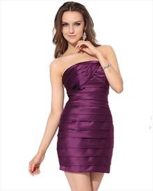 Purple Strapless Embellished Ruched Sheath Mini Satin Cocktail Dress