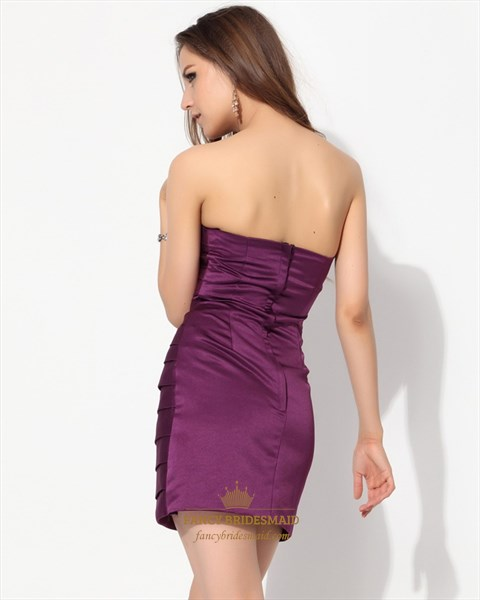 Purple Strapless Embellished Ruched Sheath Mini Satin Cocktail Dress