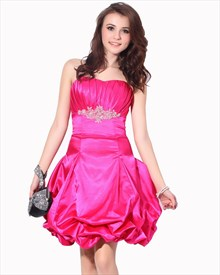 Hot Pink Strapless Beaded Taffeta Cocktail Dress With Bubble Skirt
