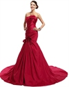 Red Mermaid Long Train Lace Up Back Taffeta Prom Dresses With Flowers