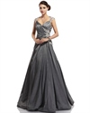Grey Illusion Lace Applique Long Taffeta Mother Of The Bride Dresses