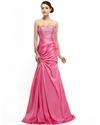 Watermelon Strapless Mermaid Taffeta Prom Dresses With Beaded Bodice