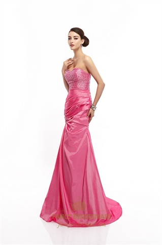 Watermelon Strapless Mermaid Taffeta Prom Dresses With Beaded Bodice ...
