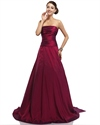 Burgundy Strapless Ruched Taffeta Prom Dress With Detachable Train