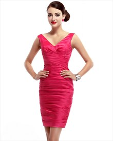 Hot Pink V Neck Embellished Ruched Sheath Cocktail Dress With Back Split